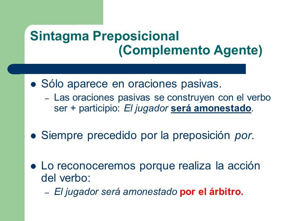 Sintagma Preposicional (Complemento Agente) Sólo aparece en oraciones pasivas. – Las oraciones pasivas se construyen con el verbo ser + participio: El