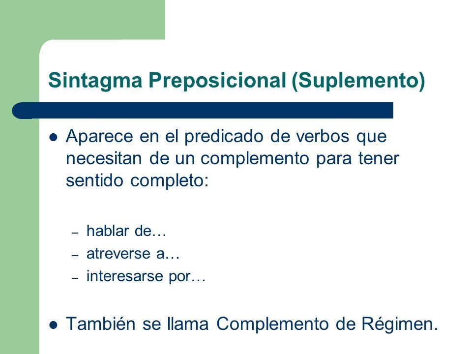 Sintagma Preposicional (Suplemento) Aparece en el predicado de verbos que necesitan de un complemento para tener sentido completo: – hablar de… – atre