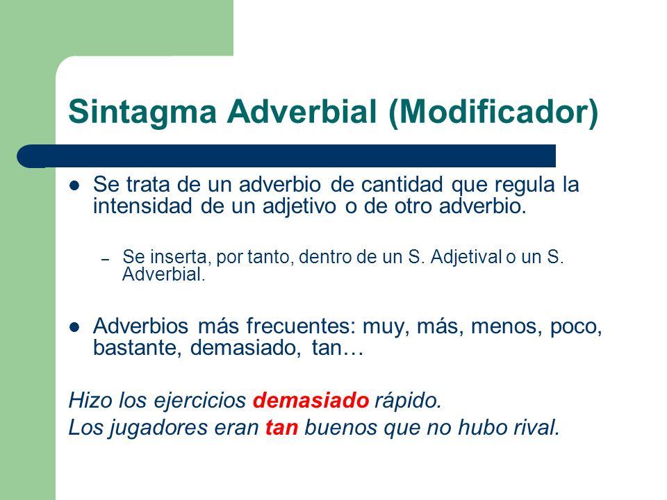 Sintagma Adverbial (Modificador) Se trata de un adverbio de cantidad que regula la intensidad de un adjetivo o de otro adverbio. – Se inserta, por tan