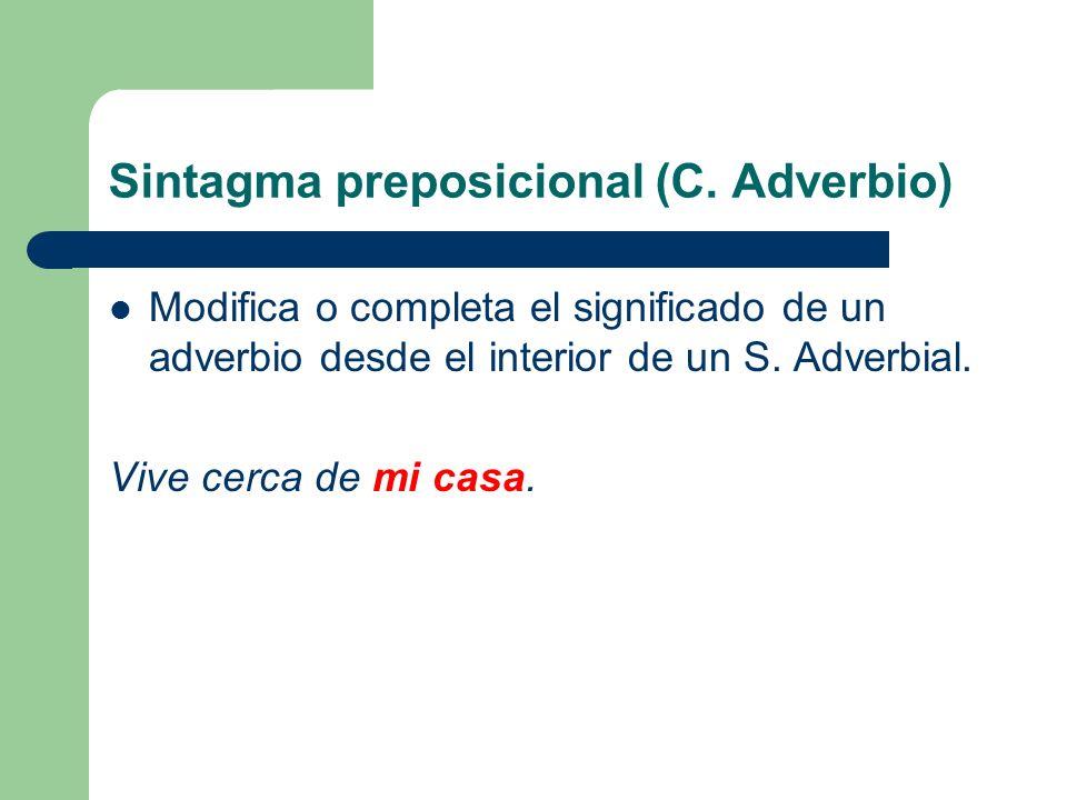 Sintagma preposicional (C. Adverbio) Modifica o completa el significado de un adverbio desde el interior de un S. Adverbial. Vive cerca de mi casa.