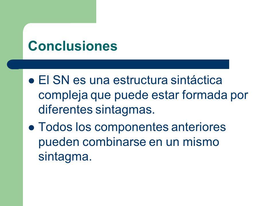 Conclusiones El SN es una estructura sintáctica compleja que puede estar formada por diferentes sintagmas. Todos los componentes anteriores pueden com