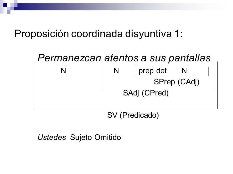 Proposición coordinada disyuntiva 1: Permanezcan atentos a sus pantallas N N prep det N SPrep (CAdj) SAdj (CPred) SV (Predicado) Ustedes Sujeto Omitid