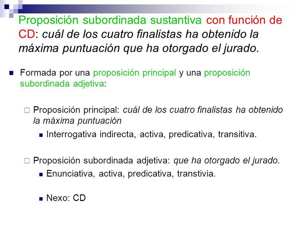 Formada por una proposición principal y una proposición subordinada adjetiva: Proposición principal: cuál de los cuatro finalistas ha obtenido la máxi