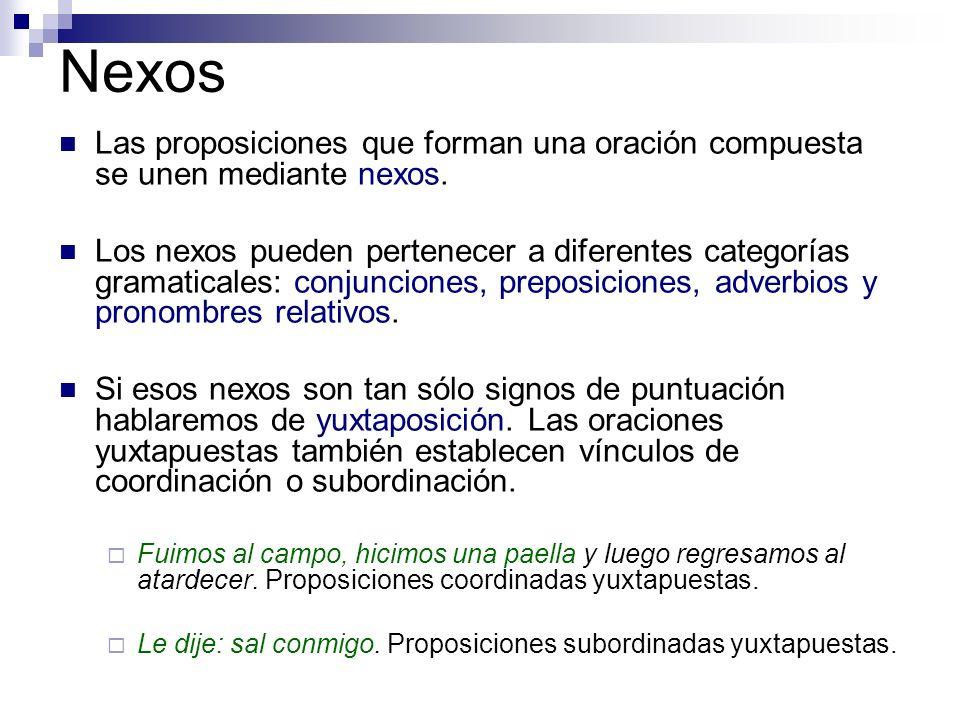 Nexos Las proposiciones que forman una oración compuesta se unen mediante nexos. Los nexos pueden pertenecer a diferentes categorías gramaticales: con