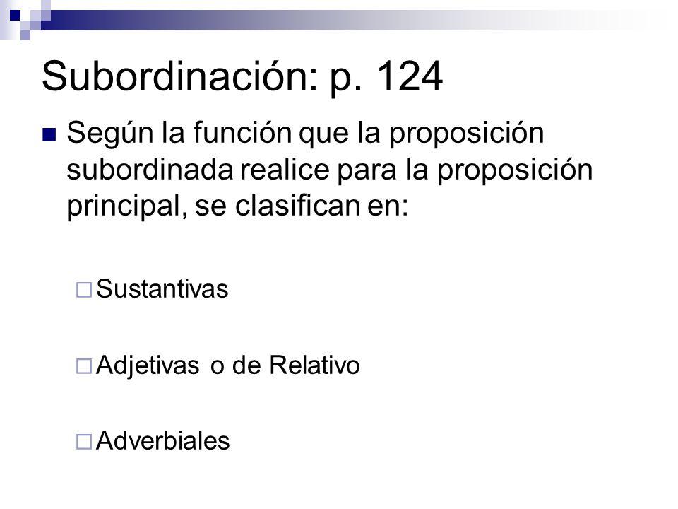 Subordinación: p. 124 Según la función que la proposición subordinada realice para la proposición principal, se clasifican en: Sustantivas Adjetivas o