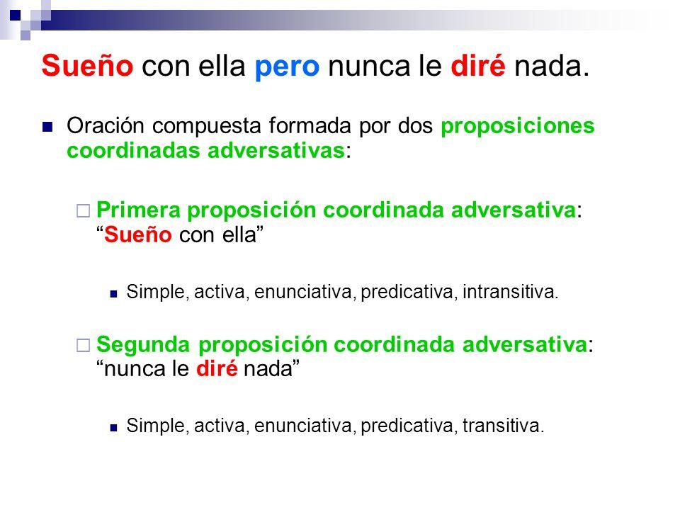 Oración compuesta formada por dos proposiciones coordinadas adversativas: Primera proposición coordinada adversativa:Sueño con ella Simple, activa, en