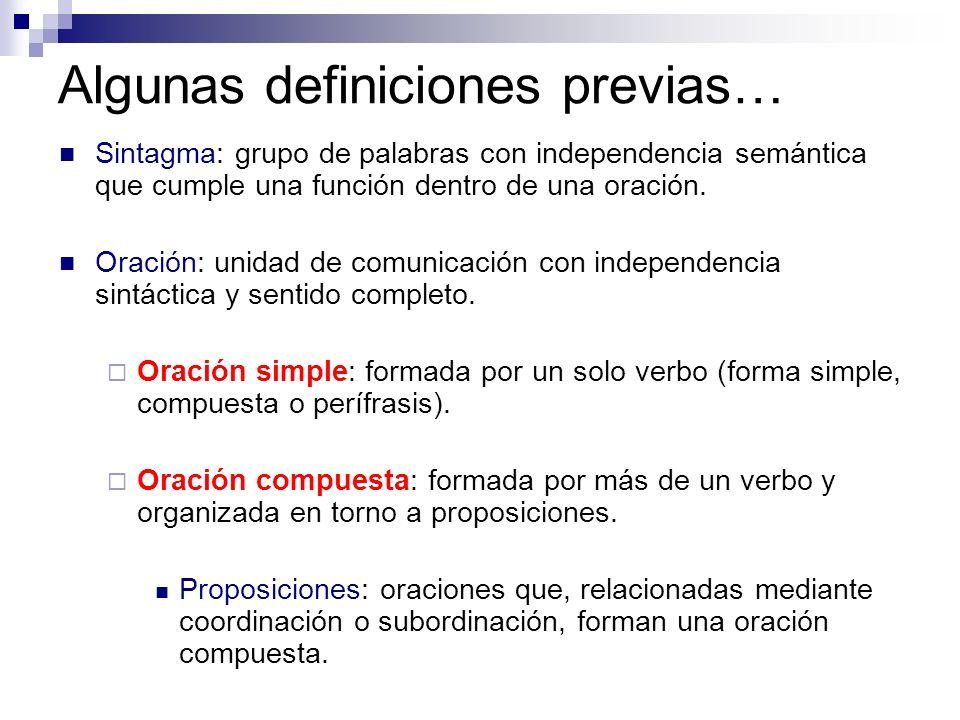 Algunas definiciones previas… Sintagma: grupo de palabras con independencia semántica que cumple una función dentro de una oración. Oración: unidad de