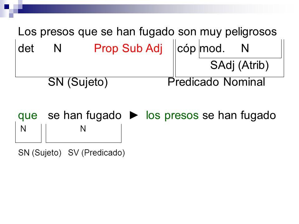 det N Prop Sub Adj cóp mod. N SAdj (Atrib) SN (Sujeto)Predicado Nominal que se han fugado los presos se han fugado N N SN (Sujeto) SV (Predicado)