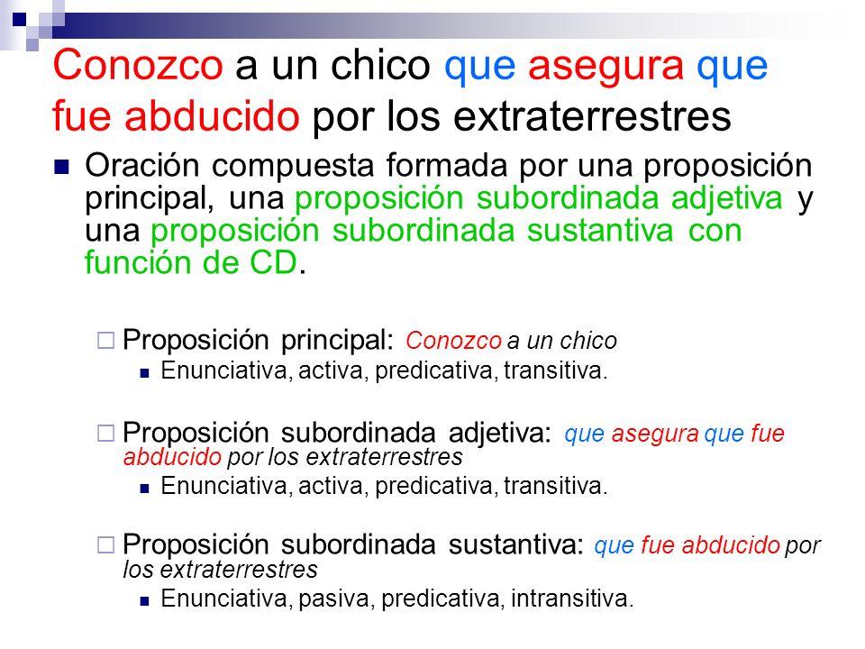 Oración compuesta formada por una proposición principal, una proposición subordinada adjetiva y una proposición subordinada sustantiva con función de