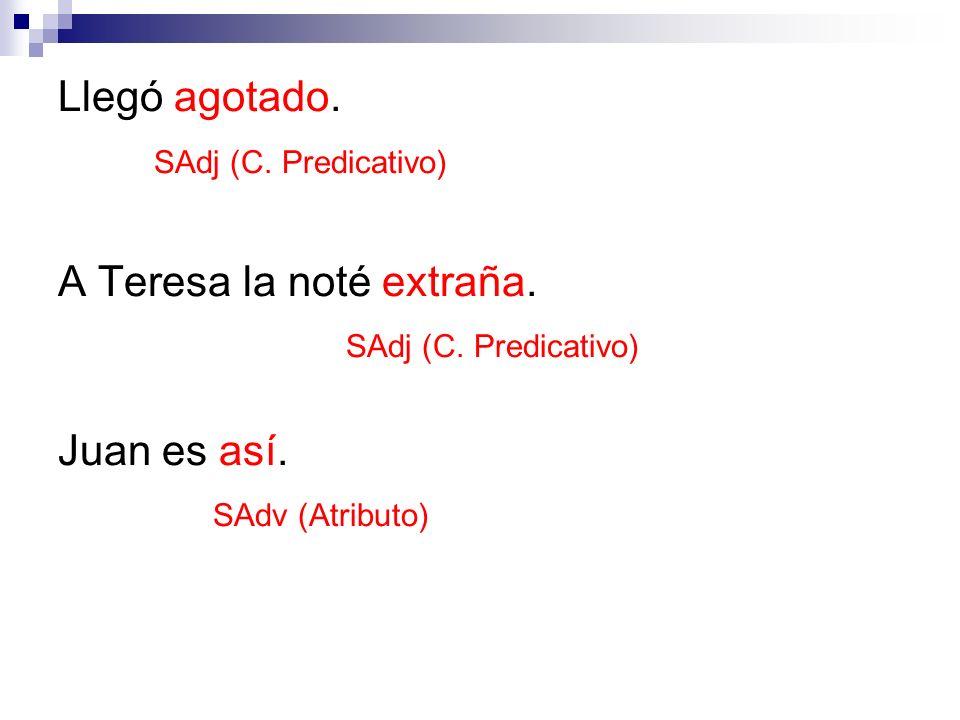 Llegó agotado. SAdj (C. Predicativo) A Teresa la noté extraña. SAdj (C. Predicativo) Juan es así. SAdv (Atributo)