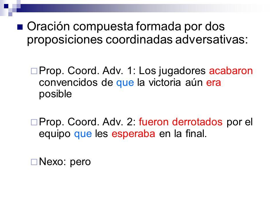 Oración compuesta formada por dos proposiciones coordinadas adversativas: Prop. Coord. Adv. 1: Los jugadores acabaron convencidos de que la victoria a