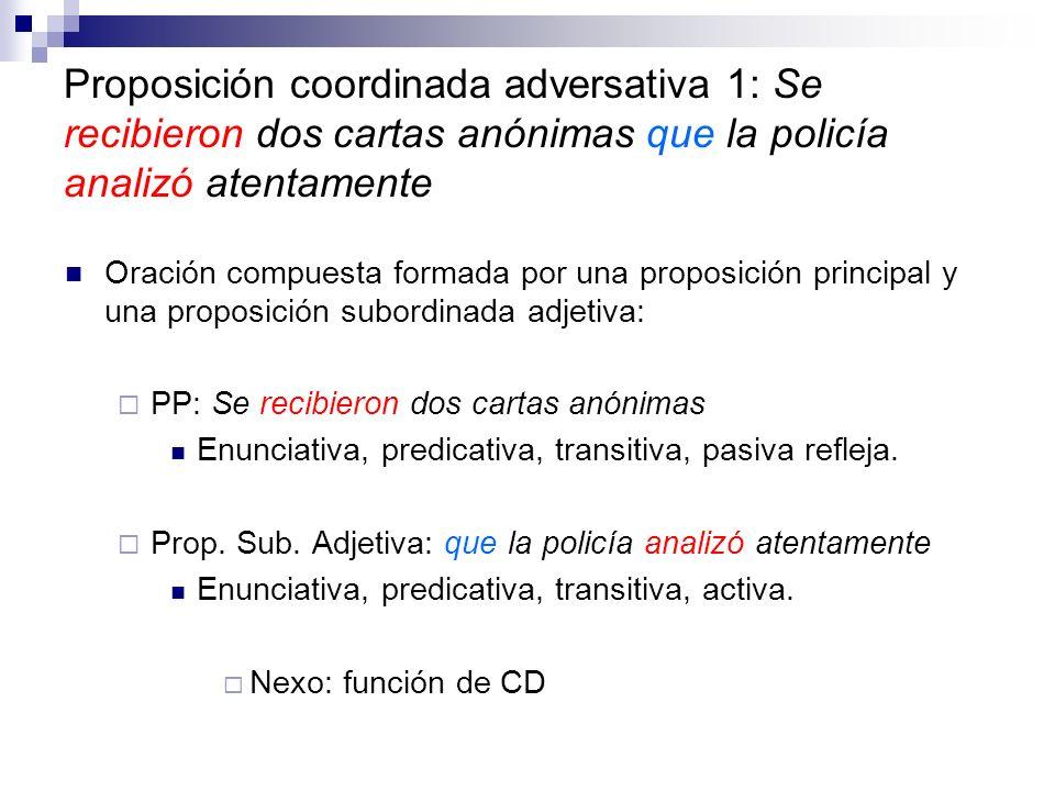 Proposición coordinada adversativa 1: Se recibieron dos cartas anónimas que la policía analizó atentamente Oración compuesta formada por una proposici