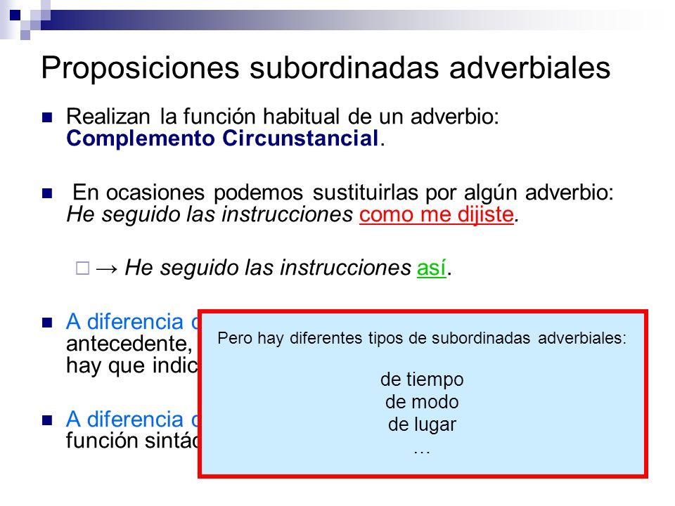 Proposiciones subordinadas adverbiales Realizan la función habitual de un adverbio: Complemento Circunstancial. En ocasiones podemos sustituirlas por