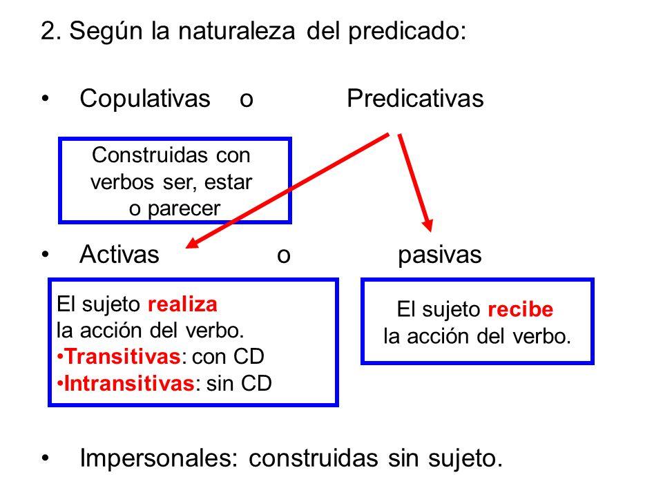 2. Según la naturaleza del predicado: Copulativas o Predicativas Activas o pasivas Impersonales: construidas sin sujeto. Construidas con verbos ser, e