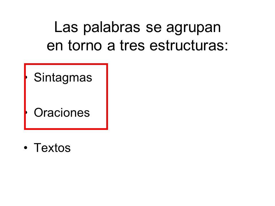 Las palabras se agrupan en torno a tres estructuras: Sintagmas Oraciones Textos