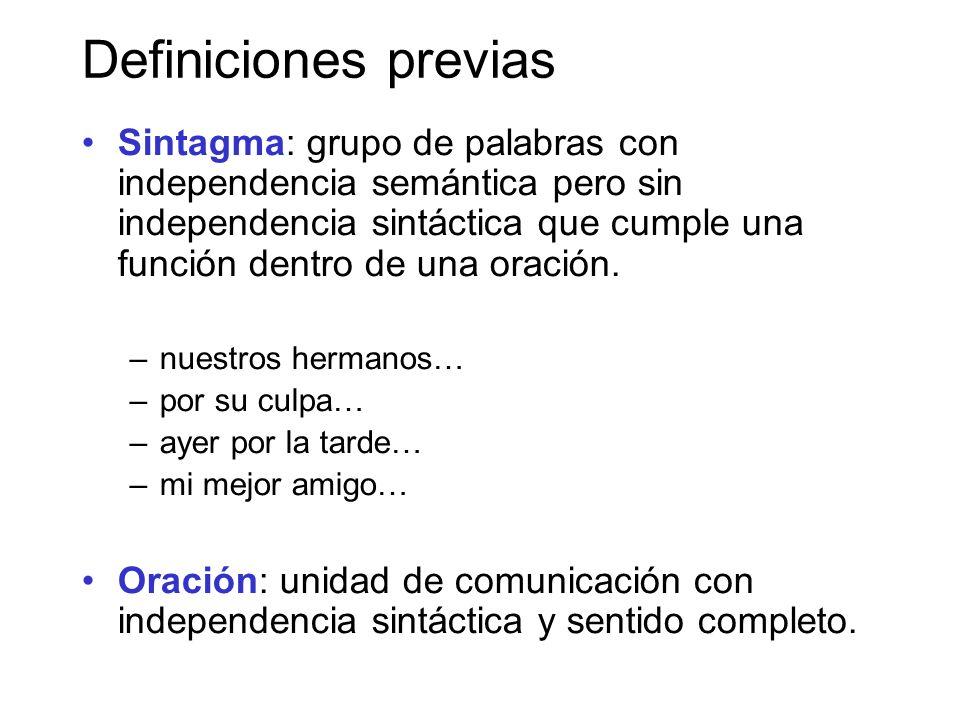 Definiciones previas Sintagma: grupo de palabras con independencia semántica pero sin independencia sintáctica que cumple una función dentro de una oración.