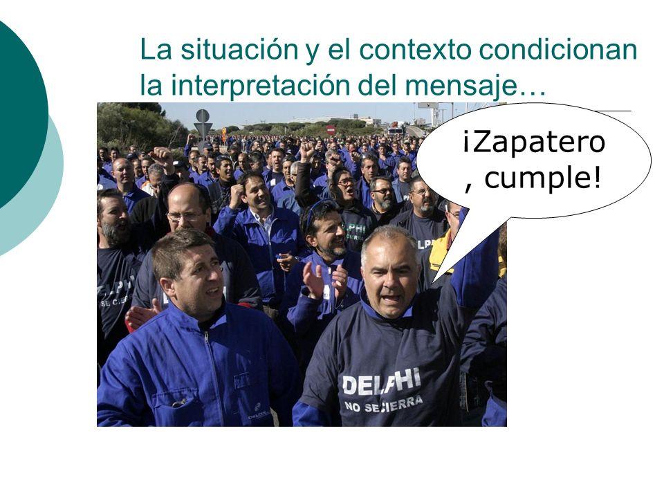 La situación y el contexto condicionan la interpretación del mensaje… ¡Zapatero, cumple!