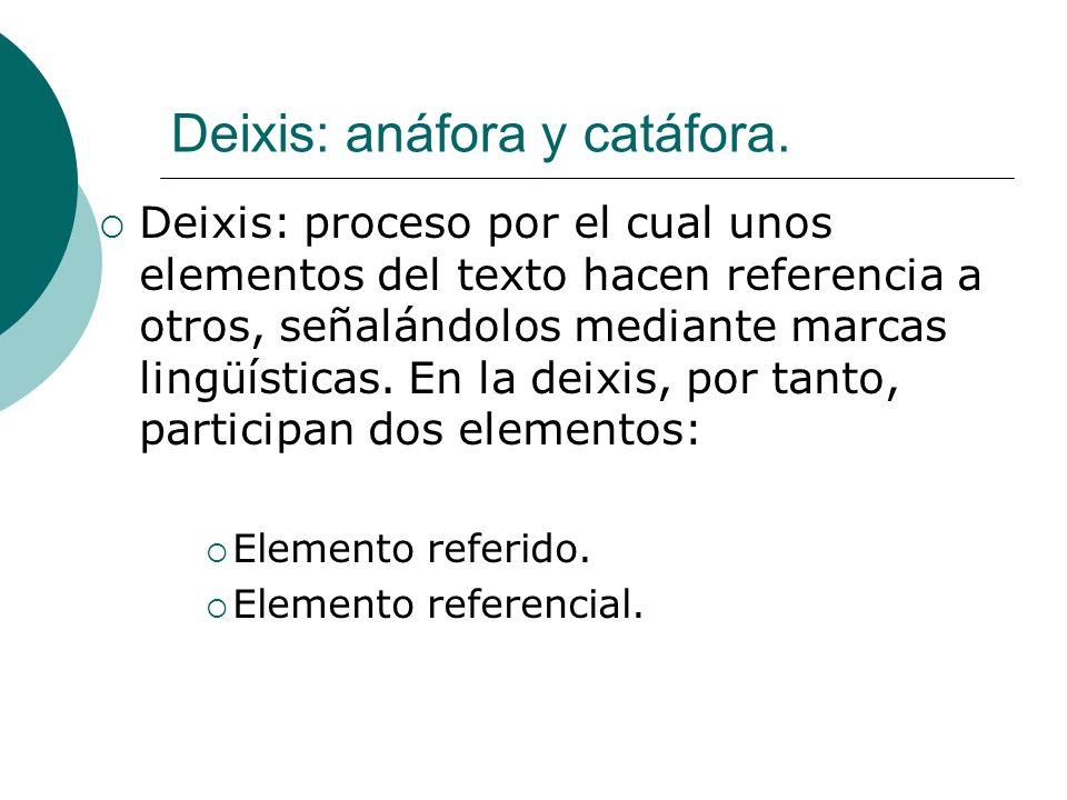 Deixis: anáfora y catáfora. Deixis: proceso por el cual unos elementos del texto hacen referencia a otros, señalándolos mediante marcas lingüísticas.
