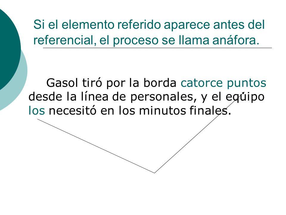Si el elemento referido aparece antes del referencial, el proceso se llama anáfora. Gasol tiró por la borda catorce puntos desde la línea de personale
