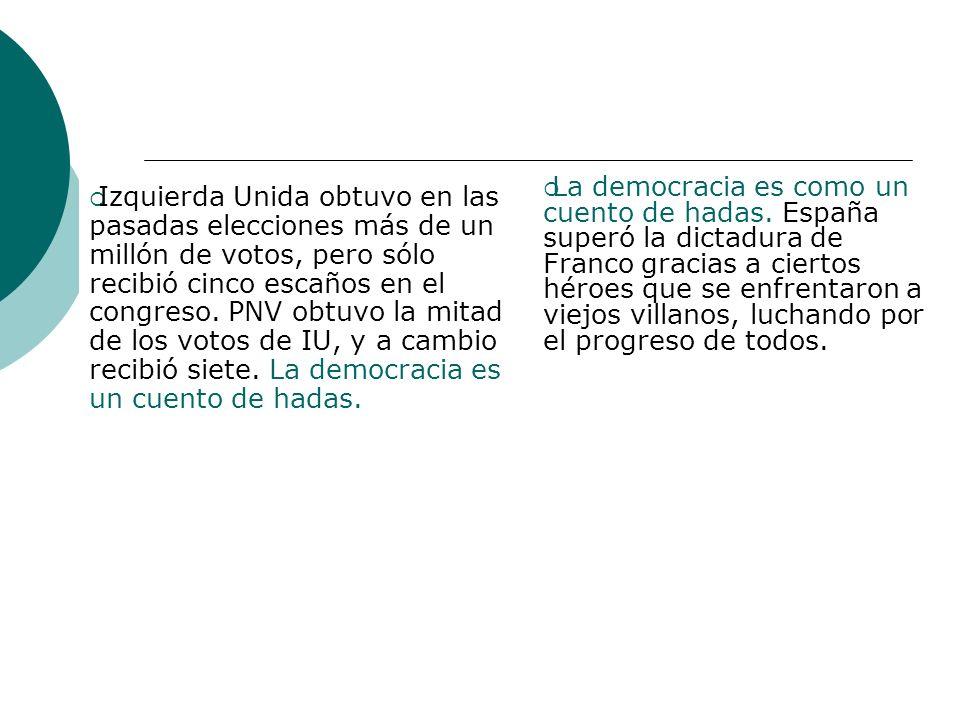 Izquierda Unida obtuvo en las pasadas elecciones más de un millón de votos, pero sólo recibió cinco escaños en el congreso. PNV obtuvo la mitad de los