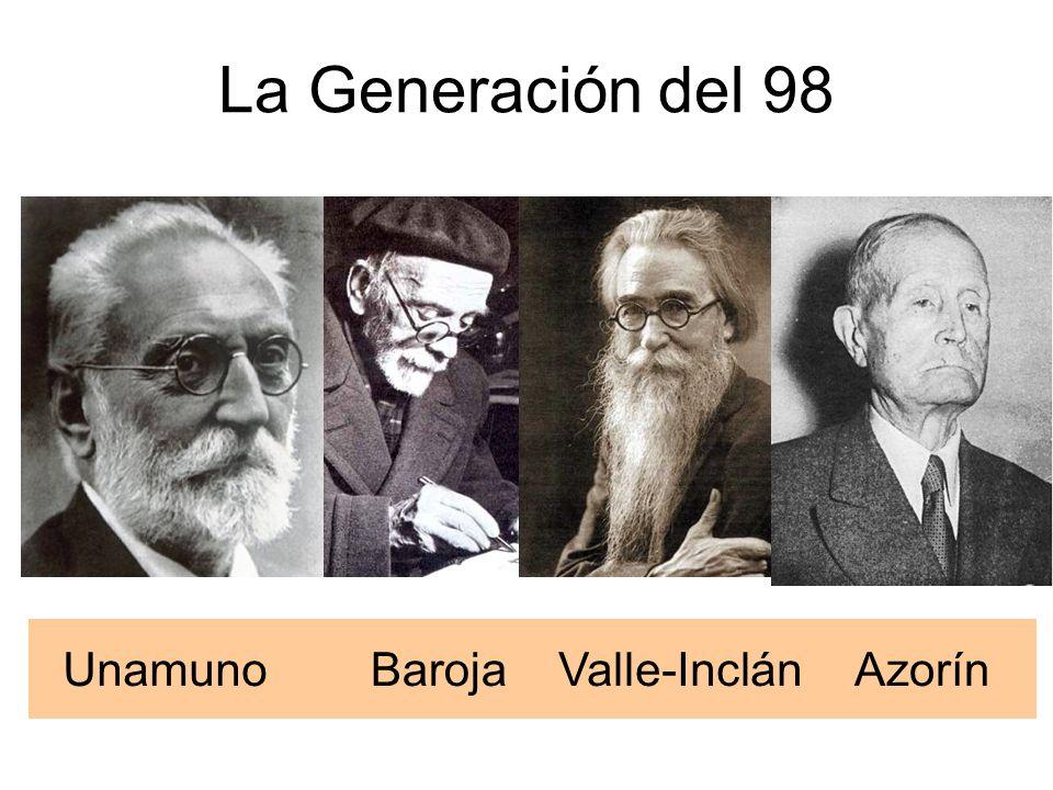 La Generación del 98 UnamunoBarojaValle-InclánAzorín