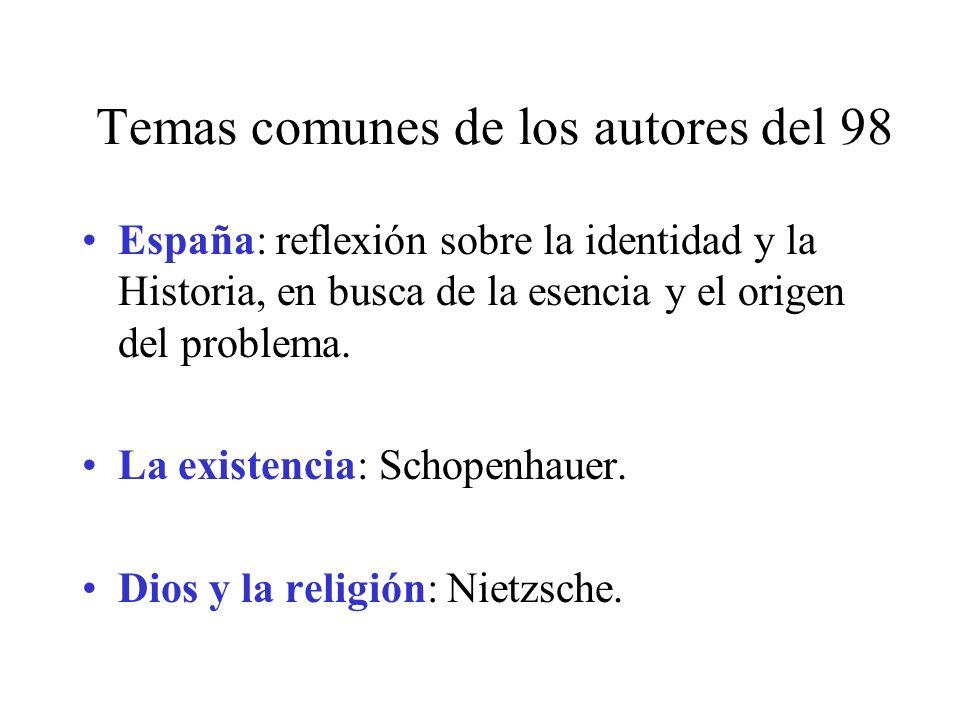 Temas comunes de los autores del 98 España: reflexión sobre la identidad y la Historia, en busca de la esencia y el origen del problema. La existencia