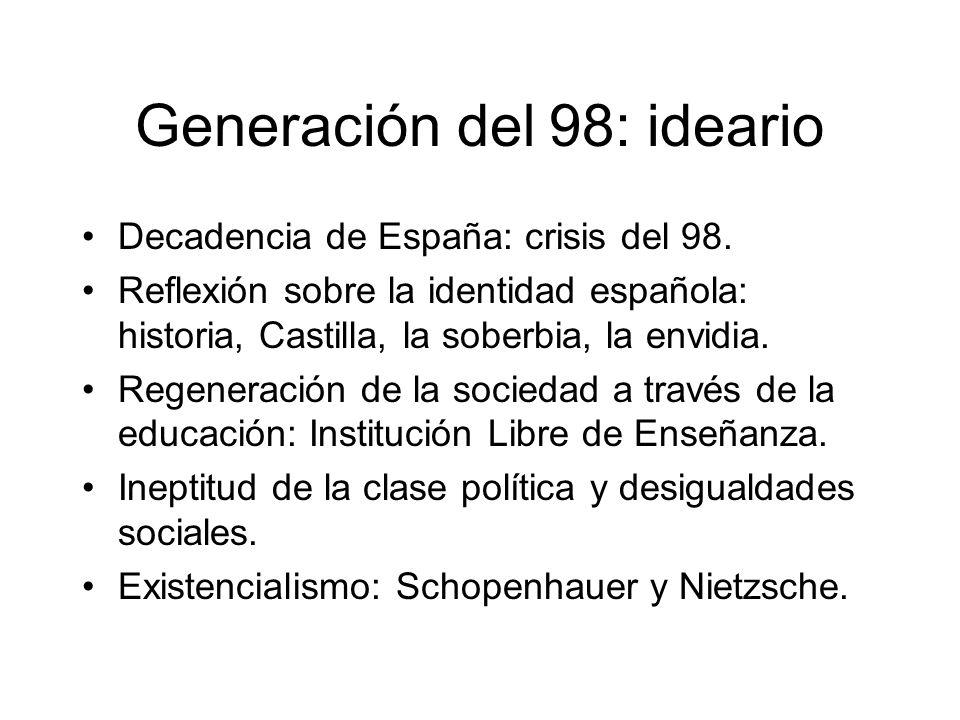 Generación del 98: ideario Decadencia de España: crisis del 98. Reflexión sobre la identidad española: historia, Castilla, la soberbia, la envidia. Re