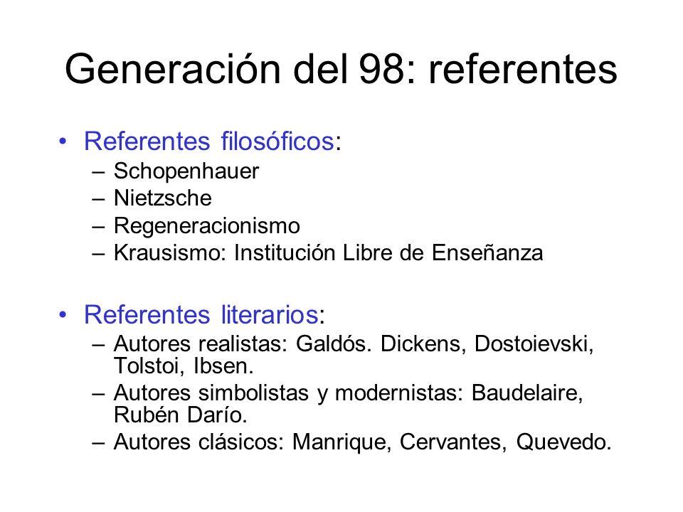 Generación del 98: referentes Referentes filosóficos: –Schopenhauer –Nietzsche –Regeneracionismo –Krausismo: Institución Libre de Enseñanza Referentes