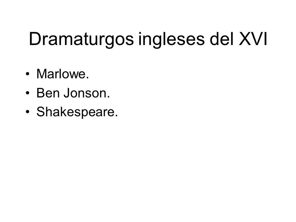 Dramaturgos ingleses del XVI Marlowe. Ben Jonson. Shakespeare.