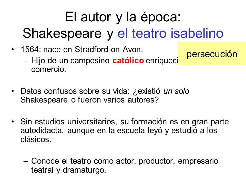 El autor y la época: Shakespeare y el teatro isabelino 1564: nace en Stradford-on-Avon. –Hijo de un campesino católico enriquecido gracias al comercio