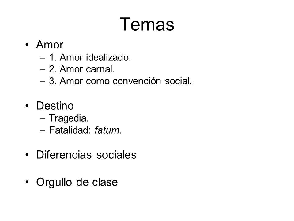 Temas Amor –1. Amor idealizado. –2. Amor carnal. –3. Amor como convención social. Destino –Tragedia. –Fatalidad: fatum. Diferencias sociales Orgullo d