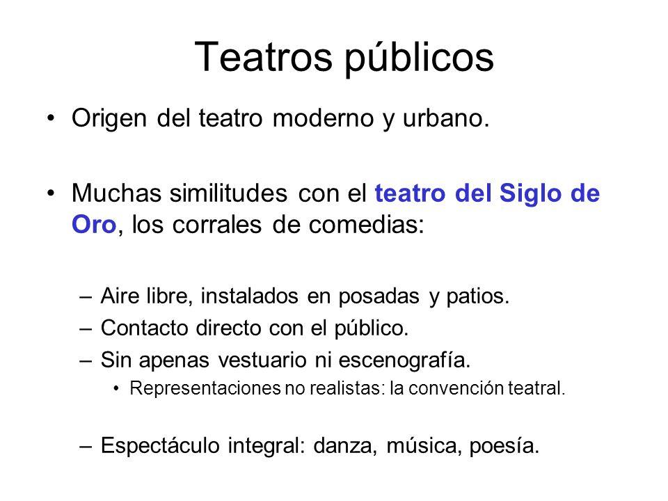 Teatros públicos Origen del teatro moderno y urbano. Muchas similitudes con el teatro del Siglo de Oro, los corrales de comedias: –Aire libre, instala