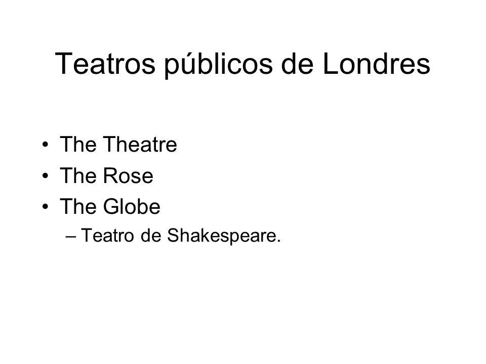 Teatros públicos de Londres The Theatre The Rose The Globe –Teatro de Shakespeare.