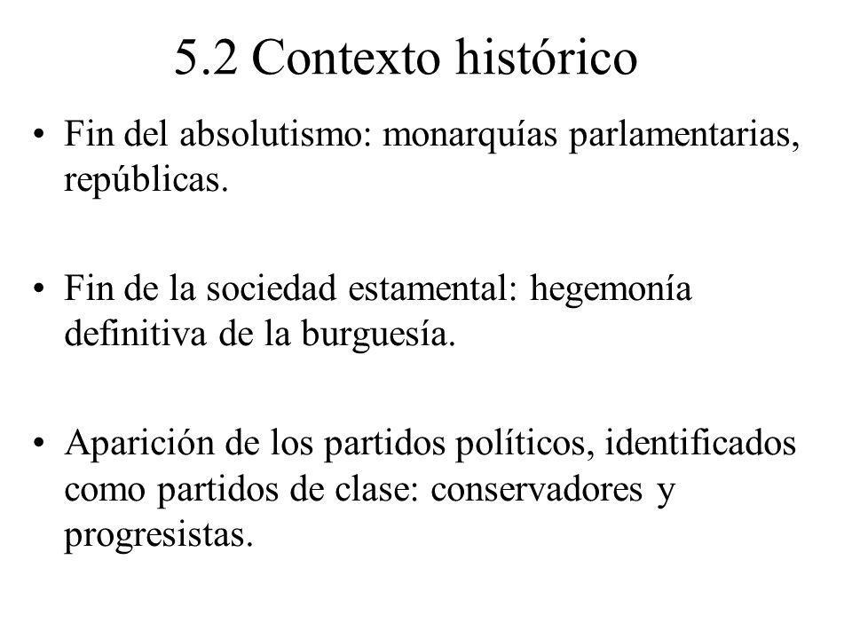 5.2 Contexto histórico Fin del absolutismo: monarquías parlamentarias, repúblicas. Fin de la sociedad estamental: hegemonía definitiva de la burguesía