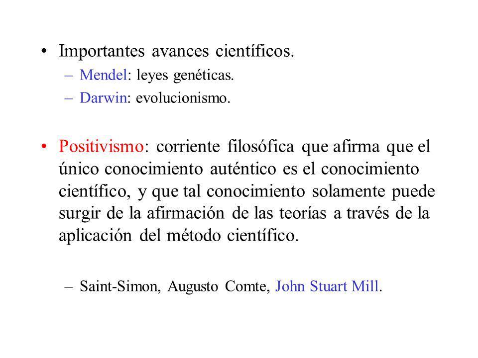 Importantes avances científicos. –Mendel: leyes genéticas. –Darwin: evolucionismo. Positivismo: corriente filosófica que afirma que el único conocimie
