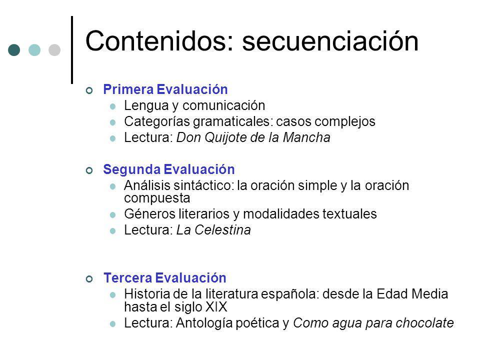 Contenidos: secuenciación Primera Evaluación Lengua y comunicación Categorías gramaticales: casos complejos Lectura: Don Quijote de la Mancha Segunda
