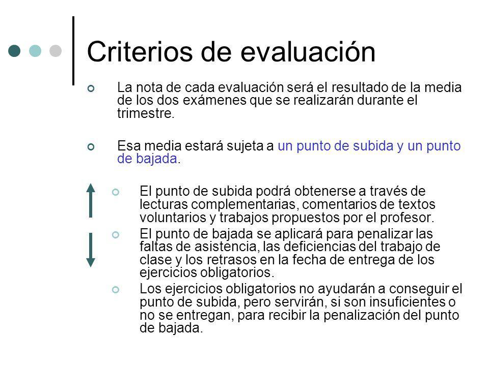 Criterios de evaluación La nota de cada evaluación será el resultado de la media de los dos exámenes que se realizarán durante el trimestre. Esa media