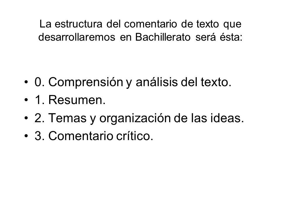 La estructura del comentario de texto que desarrollaremos en Bachillerato será ésta: 0. Comprensión y análisis del texto. 1. Resumen. 2. Temas y organ