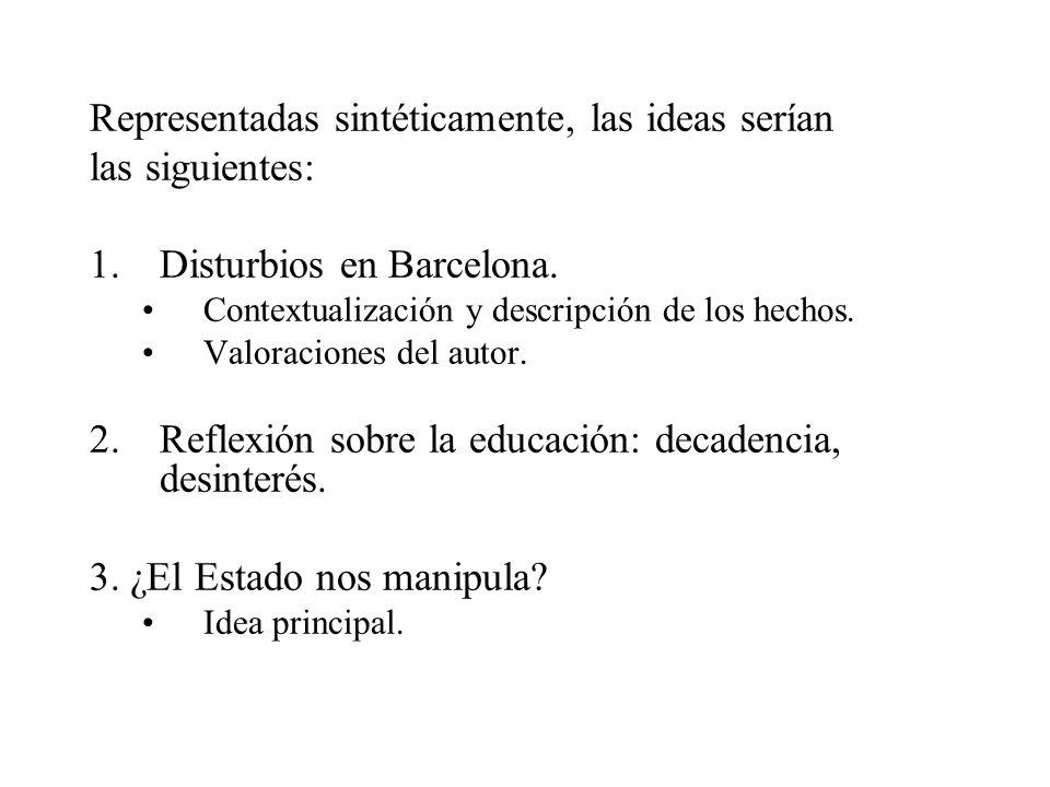 Representadas sintéticamente, las ideas serían las siguientes: 1.Disturbios en Barcelona. Contextualización y descripción de los hechos. Valoraciones