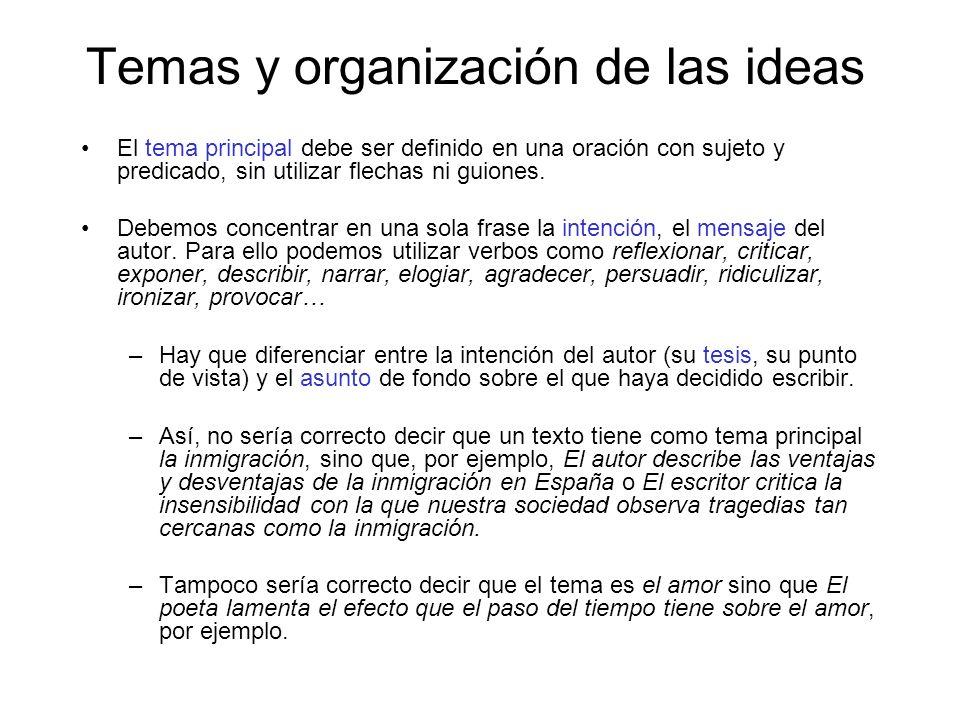 Temas y organización de las ideas El tema principal debe ser definido en una oración con sujeto y predicado, sin utilizar flechas ni guiones. Debemos
