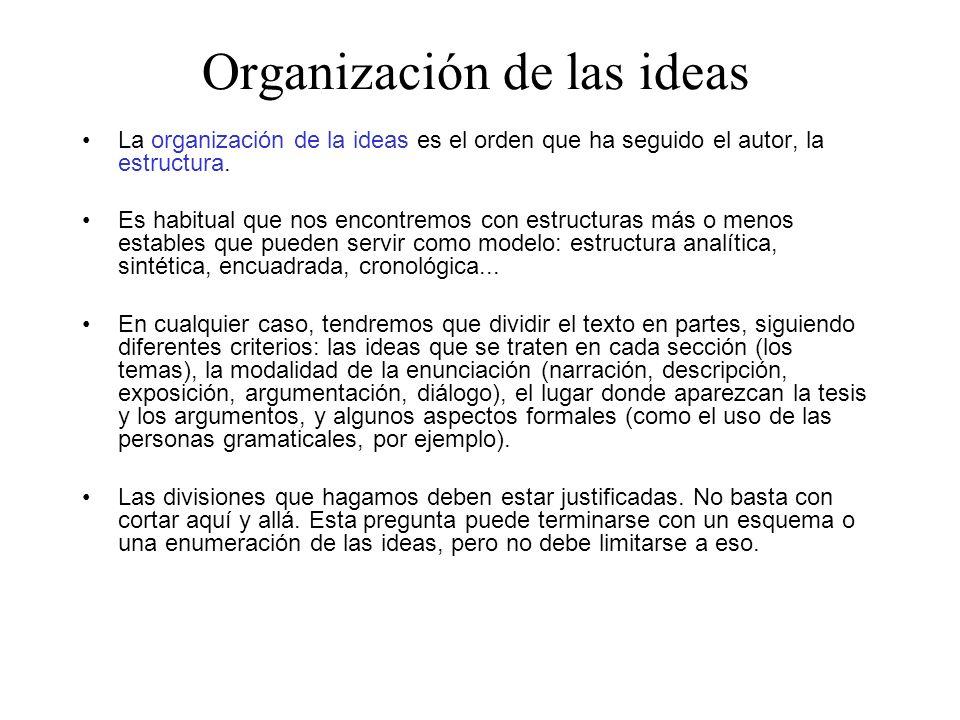 La organización de la ideas es el orden que ha seguido el autor, la estructura. Es habitual que nos encontremos con estructuras más o menos estables q