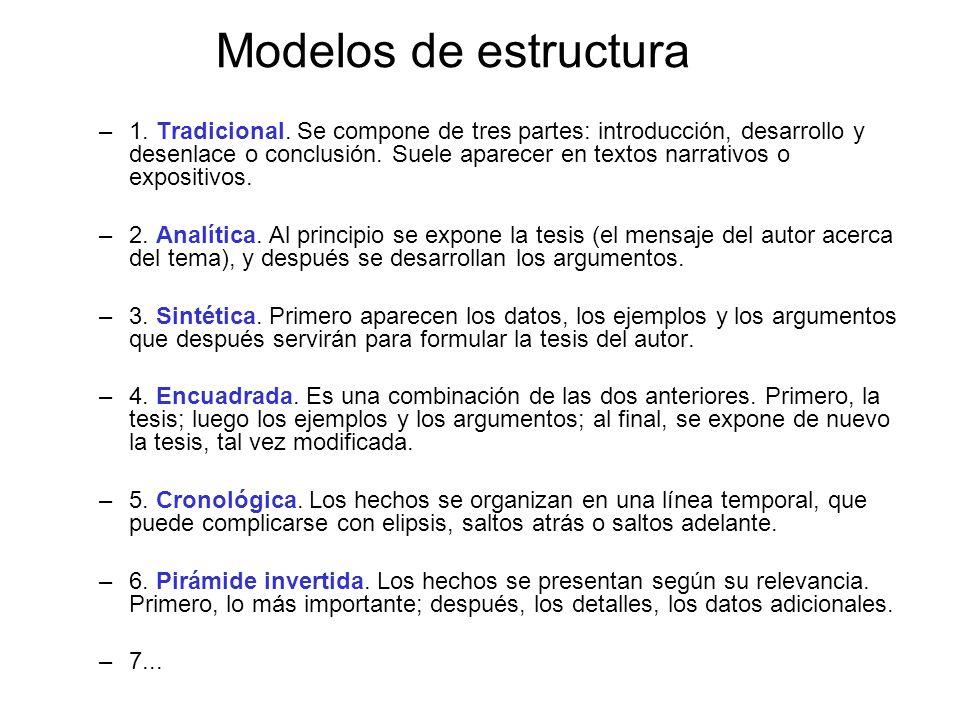Modelos de estructura –1. Tradicional. Se compone de tres partes: introducción, desarrollo y desenlace o conclusión. Suele aparecer en textos narrativ