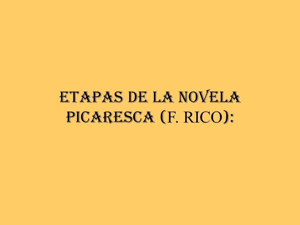 ETAPAS DE LA NOVELA PICARESCA ( F. RICO ):