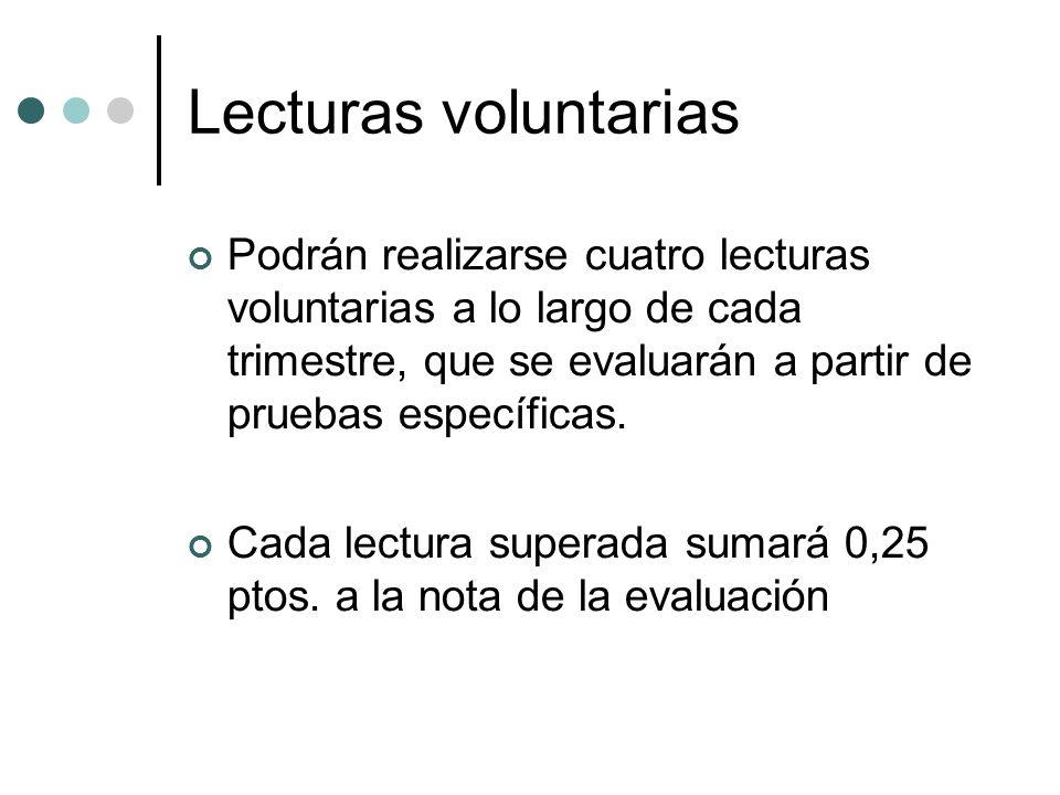 Lecturas voluntarias Podrán realizarse cuatro lecturas voluntarias a lo largo de cada trimestre, que se evaluarán a partir de pruebas específicas. Cad