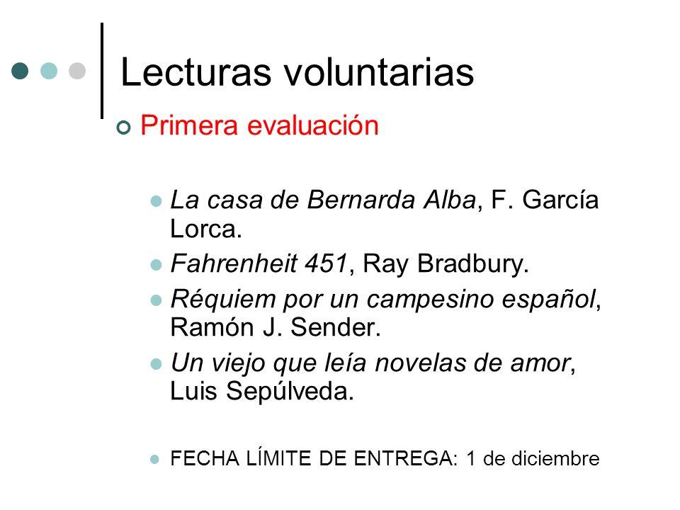 Lecturas voluntarias Primera evaluación La casa de Bernarda Alba, F. García Lorca. Fahrenheit 451, Ray Bradbury. Réquiem por un campesino español, Ram
