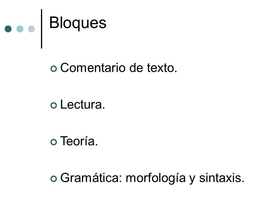 Bloques Comentario de texto. Lectura. Teoría. Gramática: morfología y sintaxis.