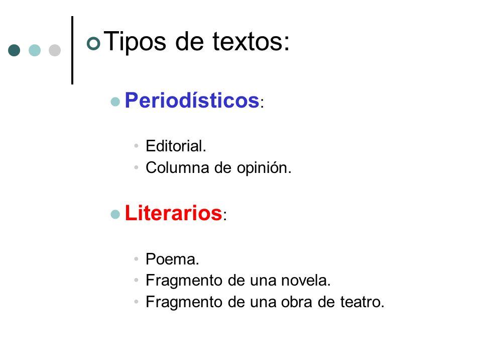 Tipos de textos: Periodísticos : Editorial. Columna de opinión. Literarios : Poema. Fragmento de una novela. Fragmento de una obra de teatro.