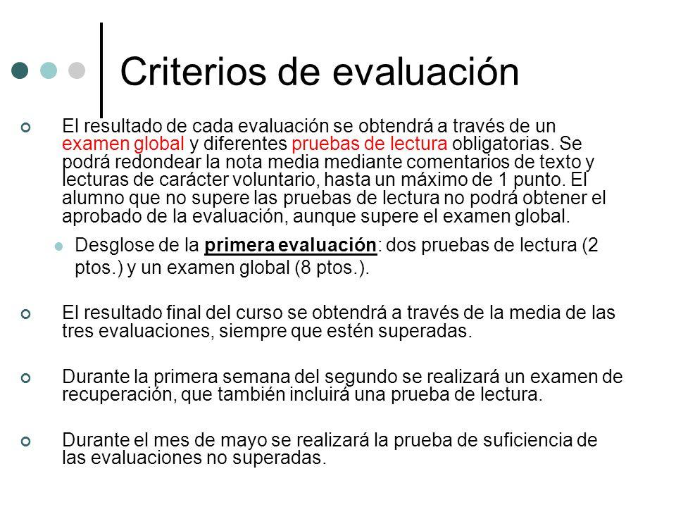 Criterios de evaluación El resultado de cada evaluación se obtendrá a través de un examen global y diferentes pruebas de lectura obligatorias. Se podr