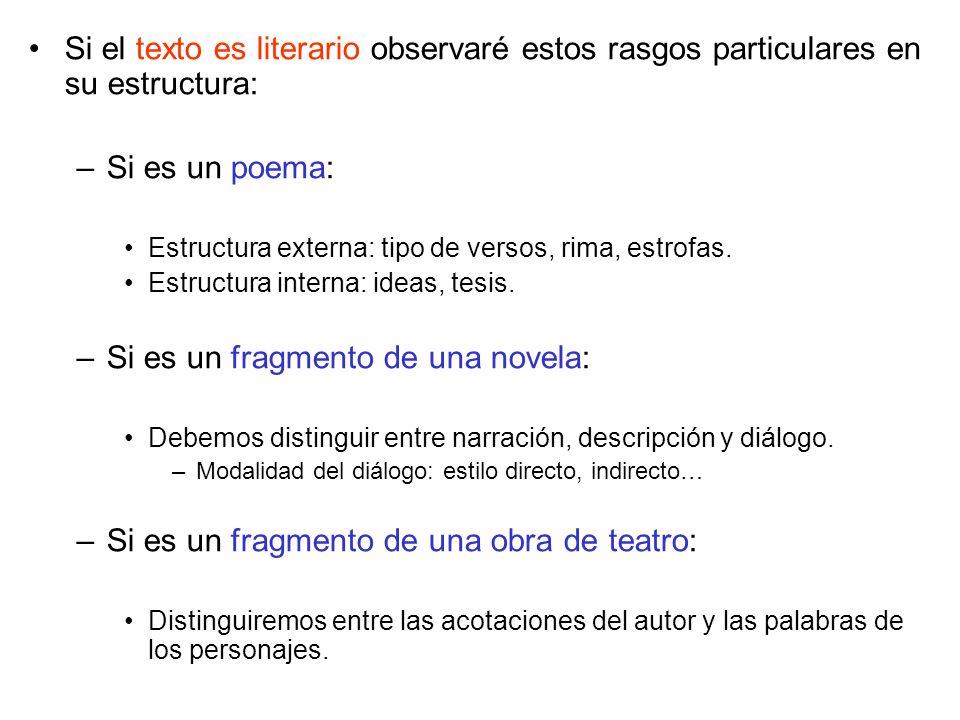 Si el texto es literario observaré estos rasgos particulares en su estructura: –Si es un poema: Estructura externa: tipo de versos, rima, estrofas.