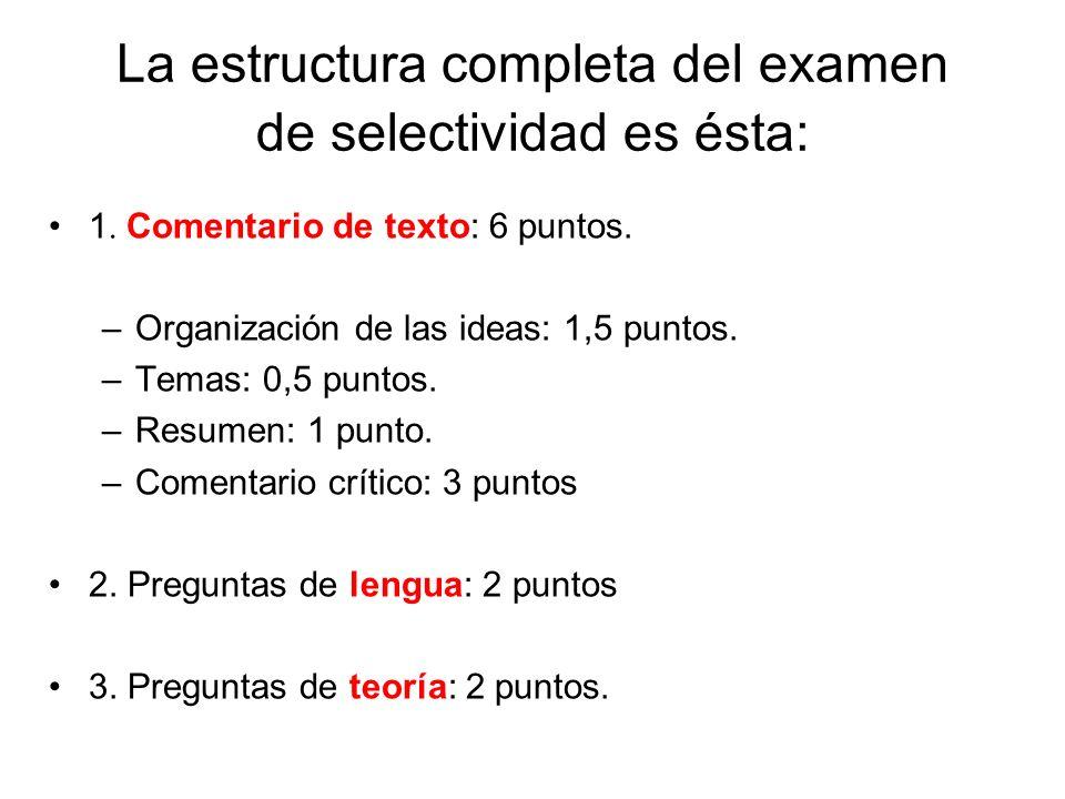 La estructura completa del examen de selectividad es ésta: 1.